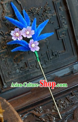 Chinese Handmade Hair Accessories Qing Dynasty Princess Blue Velvet Leaf Hairpins for Women