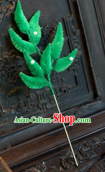 Chinese Handmade Hair Accessories Qing Dynasty Princess Green Velvet Leaf Hairpins for Women