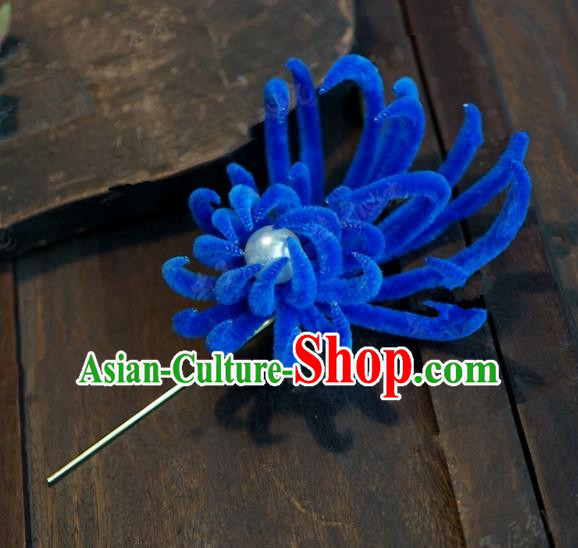 Chinese Handmade Ancient Hair Accessories Qing Dynasty Princess Royalblue Velvet Chrysanthemum Hairpins for Women