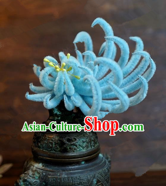 Chinese Handmade Ancient Hair Accessories Qing Dynasty Princess Blue Velvet Chrysanthemum Hairpins for Women