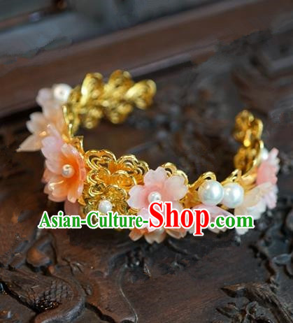 Top Grade Chinese Handmade Jewelry Accessories Ancient Palace Lady Hanfu Pink Flowers Bracelet for Women