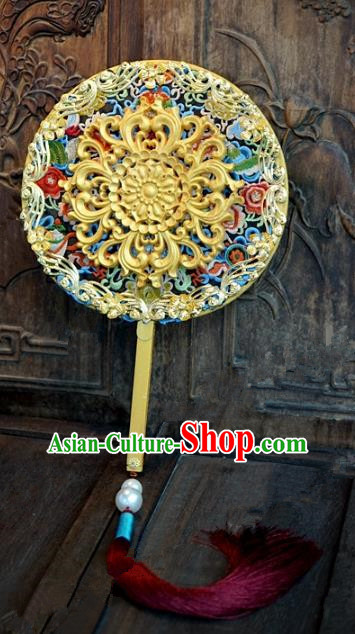 Top Grade Chinese Handmade Palace Fans Ancient Hanfu Round Fans for Women