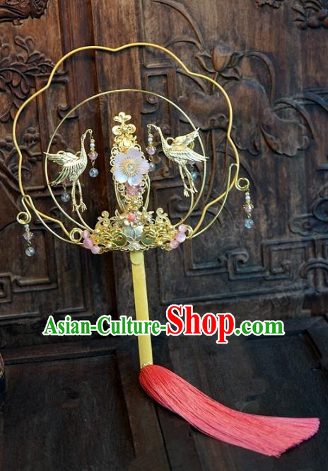 Top Grade Chinese Handmade Palace Fans Ancient Hanfu Cranes Round Fans for Women
