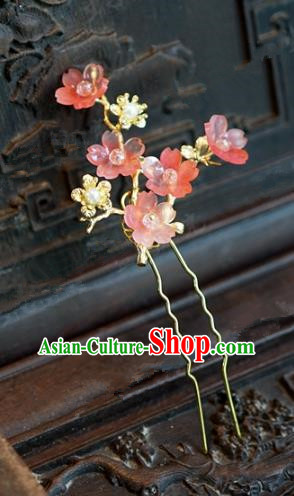 Chinese Handmade Hair Accessories Ancient Princess Red Plum Blossom Hairpins for Women