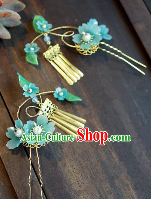 Chinese Handmade Ancient Hair Accessories Princess Blue Flowers Tassel Hairpins for Women