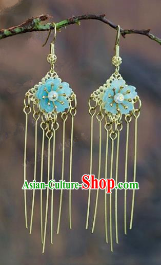 Chinese Handmade Jewelry Accessories Ancient Bride Hanfu Blue Flower Tassel Earrings for Women