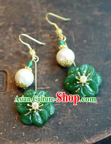 Chinese Handmade Jewelry Accessories Ancient Bride Hanfu Jade Flower Earrings for Women