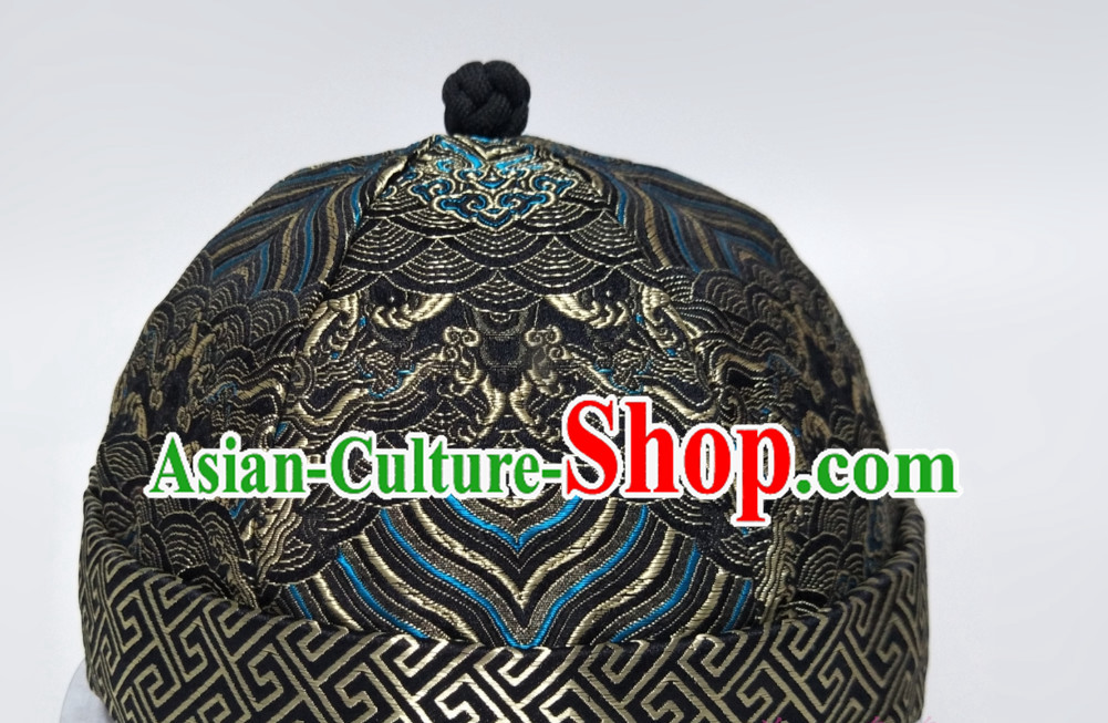 Chinese Traditional Handmade Qing Dynasty Bridegroom Manchu Hat for Men
