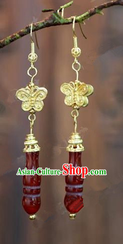Chinese Handmade Agate Earrings Ancient Bride Ear Jewelry Accessories for Women