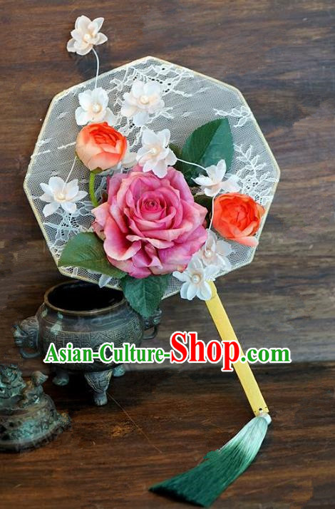 Top Grade Chinese Handmade Palace Fans Ancient Hanfu Peony Lace Round Fans for Women