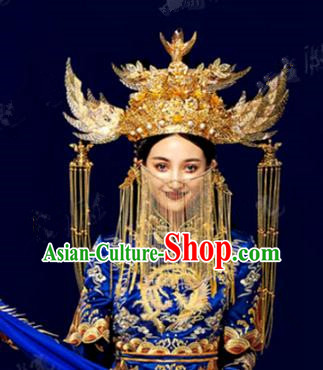Chinese Traditional Ancient Bride Wedding Phoenix Coronet Headdress Hairpins Complete Set for Women