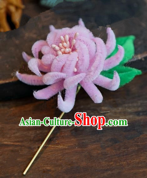 Chinese Handmade Ancient Hair Accessories Qing Dynasty Princess Pink Velvet Chrysanthemum Hairpins for Women