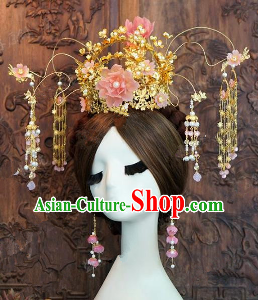 Chinese Handmade Ancient Pink Peony Phoenix Coronet Wedding Hair Accessories Hairpins Complete Set for Women