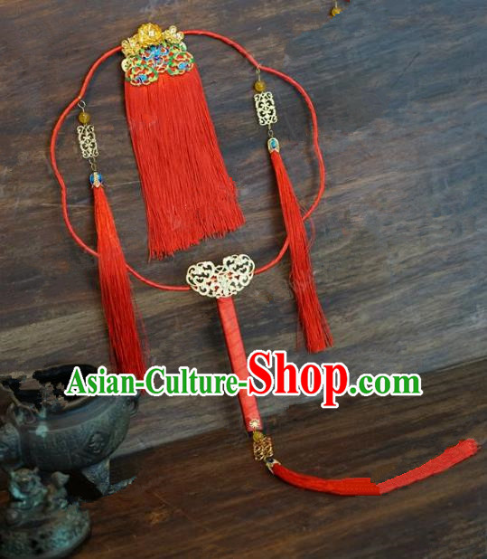 Top Grade Chinese Handmade Palace Fans Ancient Wedding Red Tassel Round Fans for Women