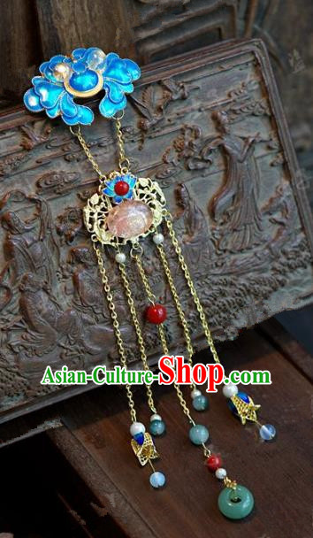 Chinese Handmade Pressure Front Blueing Brooch Ancient Bride Jade Jewelry Accessories for Women