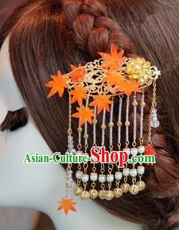 Chinese Handmade Ancient Hair Accessories Ancient Hanfu Maple Leaf Tassel Hairpins for Women