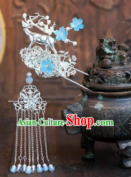 Chinese Handmade Ancient Hair Accessories Ancient Hanfu Tassel Step Shake Deer Hairpins for Women