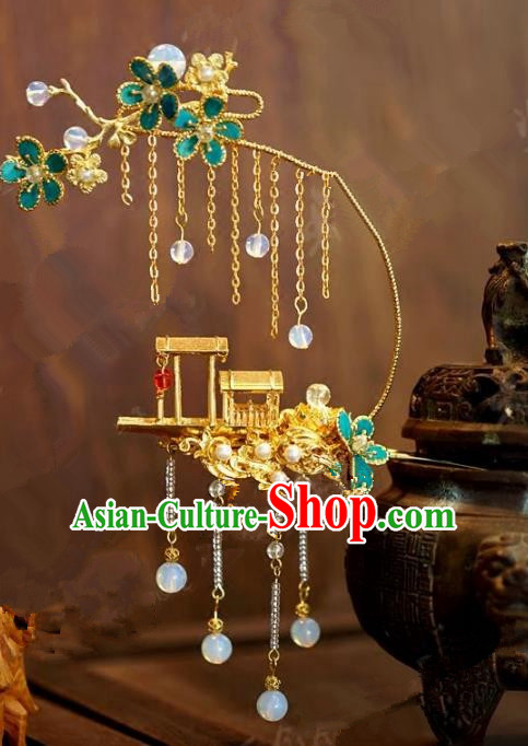 Chinese Handmade Ancient Hair Accessories Ancient Hanfu Boat Tassel Hairpins for Women