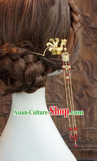 Chinese Handmade Ancient Hair Accessories Ancient Hanfu Phoenix Tassel Hairpins for Women