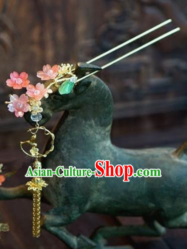Chinese Handmade Ancient Hair Accessories Ancient Hanfu Pink Flowers Hairpins for Women