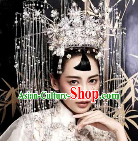 Chinese Handmade Wedding Tassel Phoenix Coronet Hair Accessories Ancient Bride Hairpins Complete Set for Women