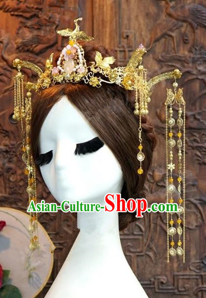 Chinese Handmade Wedding Phoenix Coronet Hair Accessories Ancient Crane Hairpins Complete Set for Women