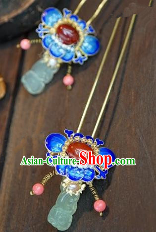 Chinese Handmade Ancient Hair Accessories Ancient Hanfu Blueing Lotus Hair Clip Agate Hairpins for Women
