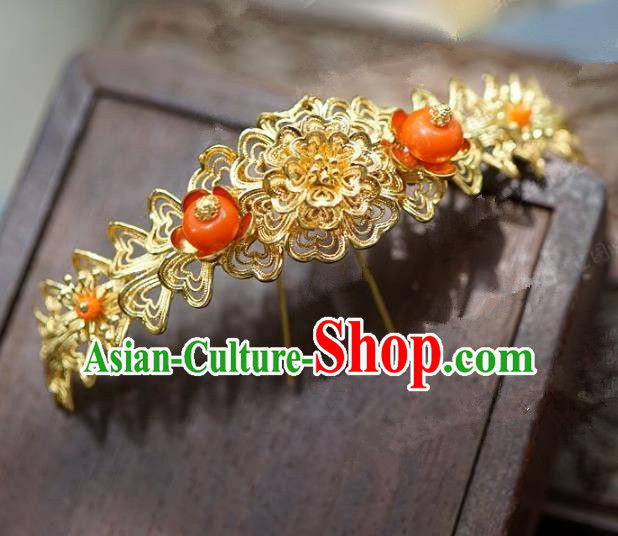 Chinese Handmade Ancient Hair Accessories Ancient Hanfu Golden Hair Clip Hairpins for Women
