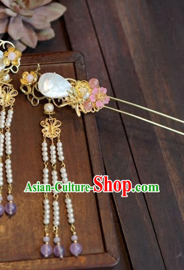 Chinese Handmade Ancient Hair Accessories Ancient Hanfu Shell Tassel Hairpins for Women