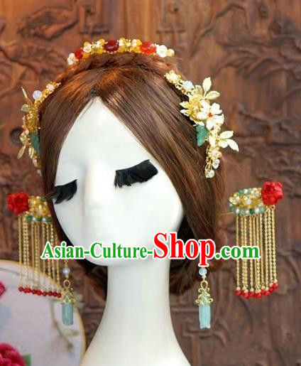 Chinese Ancient Handmade Hanfu Tassel Hairpins Wedding Hair Accessories Complete Set for Women