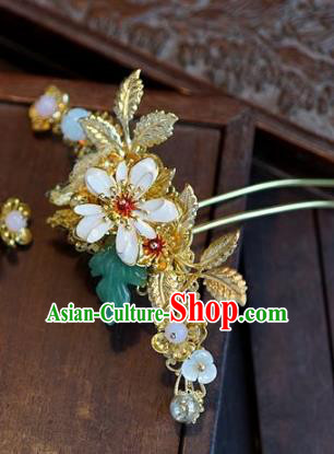 Chinese Handmade Ancient Hair Accessories Ancient Hanfu Leaf Hairpins for Women