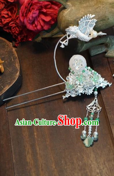 Chinese Handmade Ancient Hair Accessories Ancient Hanfu Crane Jade Hairpins for Women