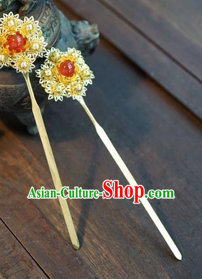 Chinese Handmade Ancient Hair Accessories Ancient Hanfu Golden Flower Hairpins for Women