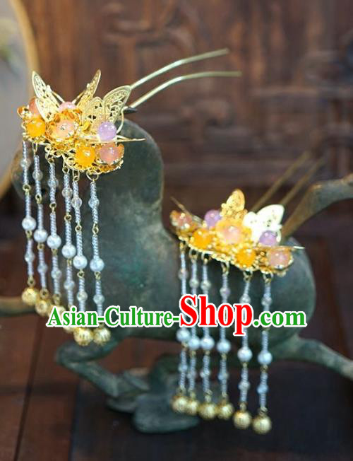 Chinese Handmade Ancient Hair Accessories Ancient Hanfu Butterfly Tassel Hairpins for Women