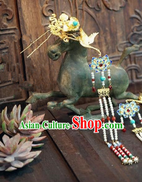Chinese Handmade Ancient Hair Accessories Ancient Hanfu Cloisonne Lotus Tassel Hairpins for Women