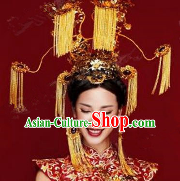 Chinese Ancient Handmade Deluxe Phoenix Coronet Hanfu Hairpins Wedding Hair Accessories for Women