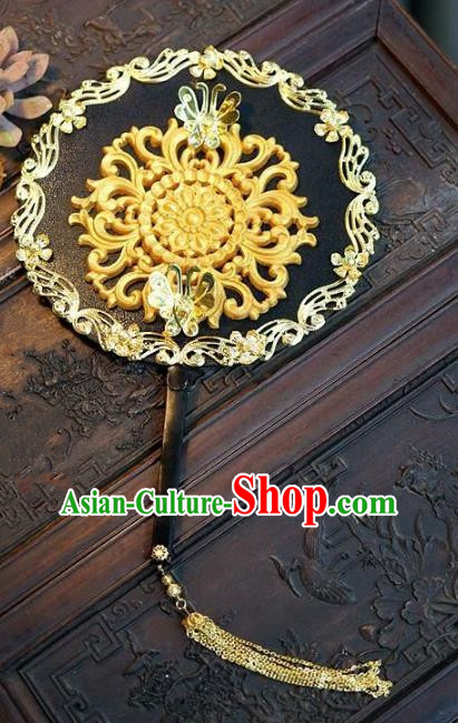 Top Grade Chinese Handmade Palace Fans Ancient Wedding Carving Round Fans for Women