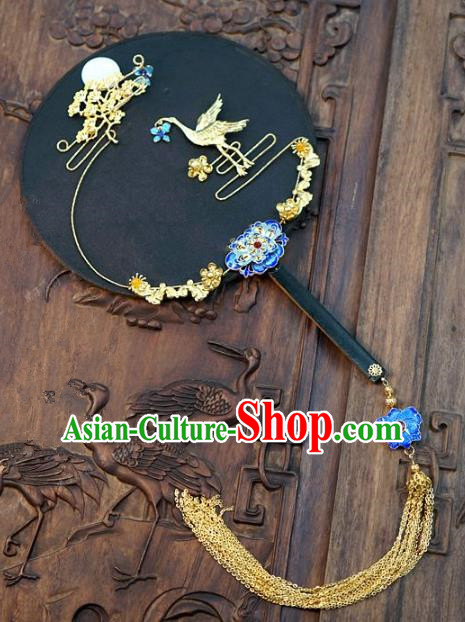 Top Grade Chinese Handmade Palace Fans Ancient Wedding Carving Crane Moon Round Fans for Women