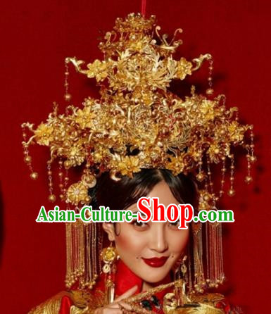 Chinese Ancient Handmade Bride Phoenix Coronet Hanfu Hairpins Wedding Hair Accessories for Women