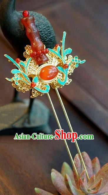 Chinese Ancient Handmade Hanfu Red Agate Hairpins Wedding Hair Accessories for Women