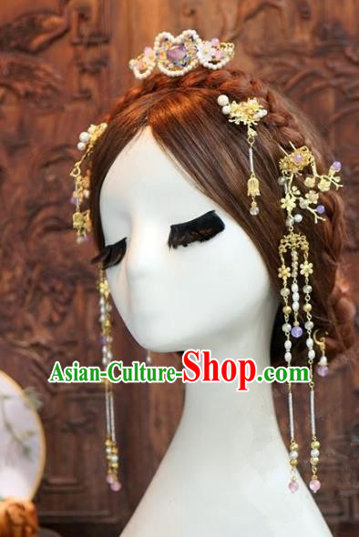 Chinese Handmade Wedding Hair Accessories Ancient Tassel Step Shake Hairpins Complete Set for Women