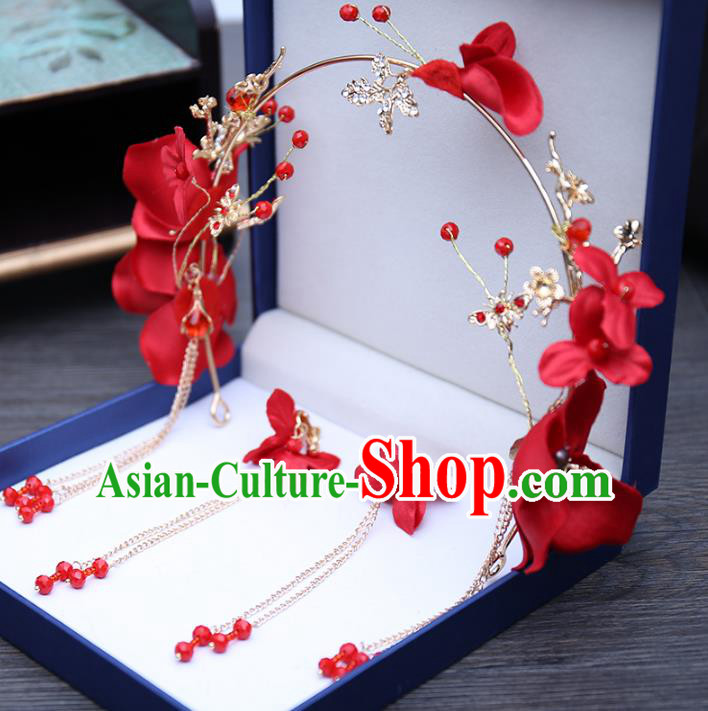 Top Grade Handmade Hair Accessories Bride Red Flowers Hair Clasp for Women