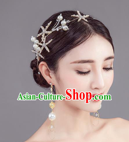 Handmade Baroque Bride Crystal Starfish Royal Crown Wedding Hair Jewelry Accessories for Women