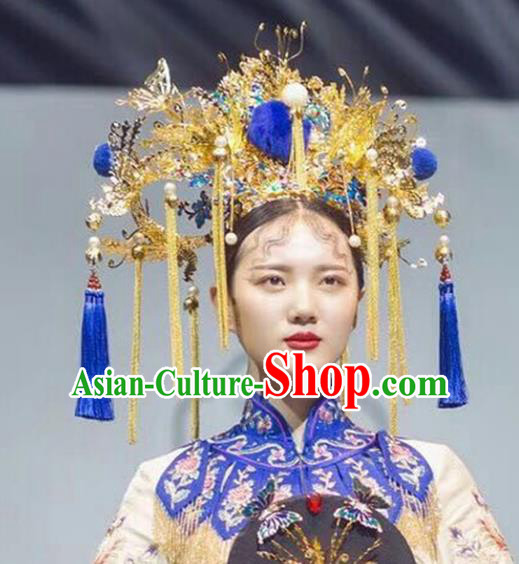 Chinese Ancient Handmade Qing Dynasty Princess Phoenix Coronet Hairpins Hair Accessories for Women