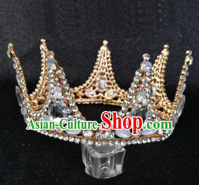 Handmade Baroque Bride Crystal Round Royal Crown Wedding Hair Jewelry Accessories for Women
