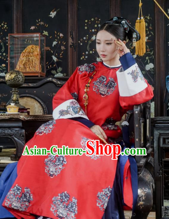 Chinese Ancient Qing Dynasty Manchu Imperial Consort Story of Yanxi Palace Embroidered Costumes and Headpiece for Women