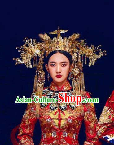Chinese Ancient Handmade Phoenix Coronet Hairpins Bride Hair Accessories Step Shake Complete Set for Women