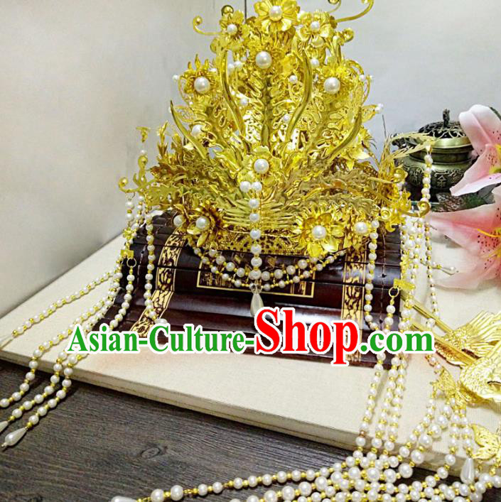 Chinese Ancient Handmade Golden Phoenix Coronet Hairpins Queen Hair Accessories Step Shake Complete Set for Women