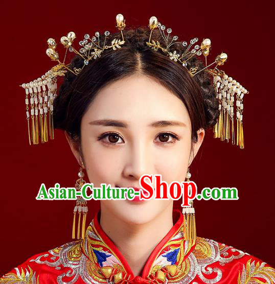 Chinese Ancient Handmade Bride Hairpins Hair Accessories Tassel Step Shake Complete Set for Women