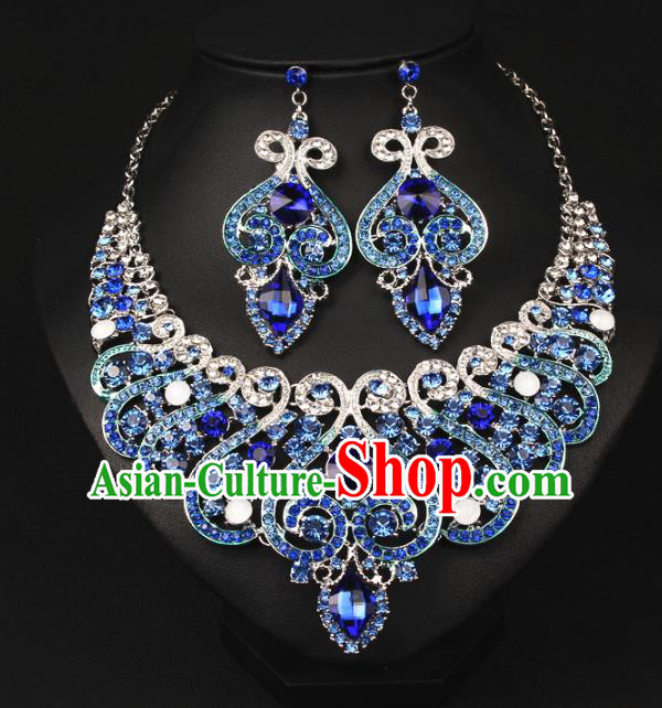 Top Grade Handmade Jewelry Accessories Bride Blue Crystal Necklace and Earrings for Women
